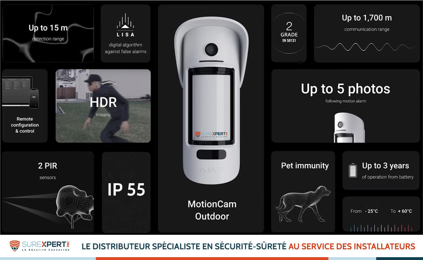 Détecteur MotionCam Outdoor extérieur AJAX avec appareil photo intégré